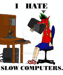picture of an angry man destroying a slow computer